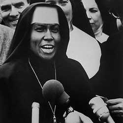 "Sister Mary Antona Ebo, F.S.M. marched at the front of the protest as they walked in Selma, Al, March 10, 1965.  When asked to address the gathering Sister said, ""I am here because I am a Negro, a nun, a Catholic, and because I want to bear witness."""
