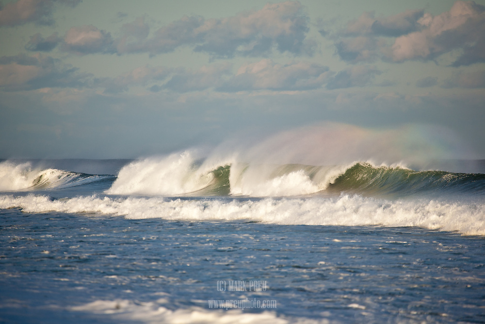 A brief rainbow developed in the spindrift of a wave breaking at Nauset Beach in Orleans.