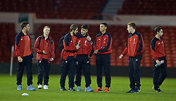 NOTTINGHAM, ENGLAND - Thursday, February 4, 2016: Liverpool players on the pitch ahead of the FA Youth Cup 5th Round match against Nottingham Forest at the City Ground. (Pic by David Rawcliffe/Propaganda)