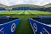 BRIGHTON, ENGLAND - MAY 12:    General view inside the AMEX stadium ahead of the Premier League match between Brighton & Hove Albion and Manchester City at American Express Community Stadium on May 12, 2019 in Brighton, United Kingdom. (MB Media)