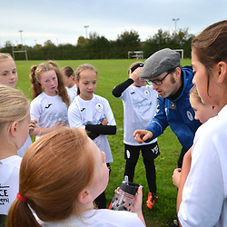 TELFORD COPYRIGHT MIKE SHERIDAN Action from AFC Telford United academy ladies/girls u11 at Idsall Sports Centre on Saturday, October 12, 2019.<br /> <br /> Picture credit: Mike Sheridan/Ultrapress<br /> <br /> Tag: manager team talk tactics<br /> <br /> MS201920-026
