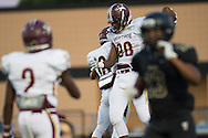 Nic McTear (88) of Frisco Heritage celebrates after catching a touchdown pass against The Colony during a high school football game at Tommy Briggs Cougar Stadium in The Colony, Texas on September 11, 2015. (Cooper Neill/Special Contributor)