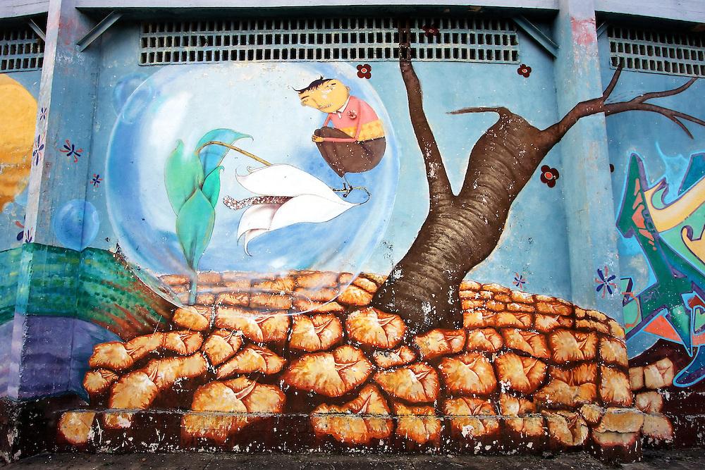 Os Gemeos graffiti in Pinar del Rio, Cuba.