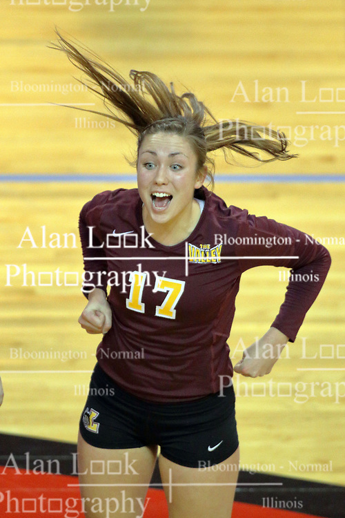 07 November 2014:  Caroline Holt celebrates a point during an NCAA womens volleyball match between the Loyola Ramblers and the Illinois State Redbirds at Redbird Arena in Normal IL