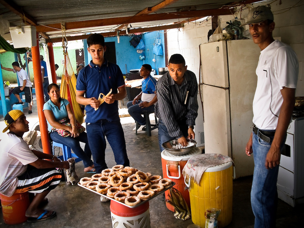 Prisoners make donuts at San Antonio prison on Margarita Island in Venezuela.  Prisoner-run restaurants thrive, because the state does not provide adequate food. (This is a file photo shot in May 2011 for Simon Romero's feature on San Antonio prison, it has never been published)