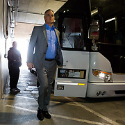 08 March 2018: San Diego State Aztecs head coach Brian Dutcher arrives at the Thomas & Mack Center prior to their game against Fresno State in their first game of the Mountain West Conference Tournament. <br /> More game action at www.sdsuaztecphotos.com