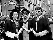 Graduation day at Carysfort College, Blackrock, County Dublin, sees the final conferring of degrees on students in the teacher training programme, after a three-year course. Marie O'Donoghue, Killarney, County Kerry, Sinead Curtin, Tralee, County Kerry, and Richard Swann, Macroom, County Cork, proudly hold their certificates.<br />