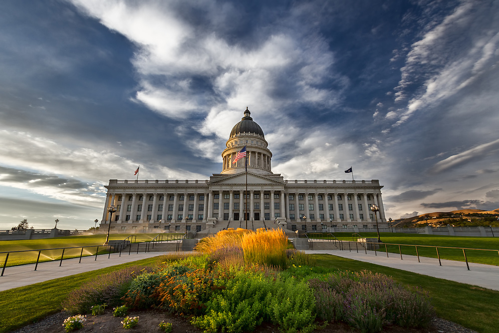 The Salt Lake City Capitol building is a dramatic view in the late Summer light.  The colors just explode!