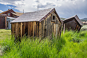 "Tall grass reclaims ramshackle outhouses at Bodie gold mining ghost town 1859-1942, California, USA. Bodie State Historic Park lies in the Bodie Hills east of the Sierra Nevada mountain range in Mono County, near Bridgeport. After W. S. Bodey's original gold discovery in 1859, profitable gold ore discoveries in 1876 and 1878 transformed ""Bodie"" from an isolated mining camp to a Wild West boomtown. By 1879, Bodie had a population of 5000-7000 people with 2000 buildings. At its peak, 65 saloons lined Main Street, which was a mile long. Bodie declined rapidly 1912-1917 and the last mine closed in 1942. Bodie became a National Historic Landmark in 1961 and Bodie State Historic Park in 1962."