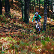 Jay Goodrich pedals the Sink or Swim singletrack trail off of Snow King in Jackson, Wyoming.