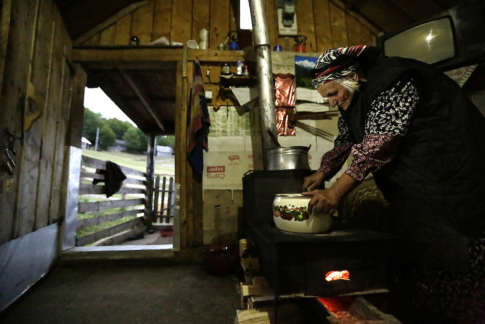 Traditional food at the stan of Bosa Culafic, katun of Stavna, Montenegro.