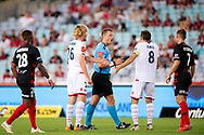 SYDNEY, NSW - JANUARY 18: Referee Alex King shouts at Adelaide United midfielder Isaias (8) at the Hyundai A-League Round 14 soccer match between Western Sydney Wanderers and Adelaide United at ANZ Stadium in NSW, Australia 18 January 2019. Image by (Speed Media/Icon Sportswire)