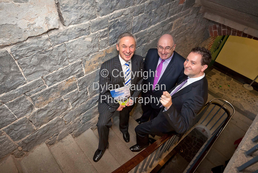 12/3/2012.no charge for repro.Pictured yesterday at the Parade Towers in Kilkenny at the Succeed in Ireland Initiative briefing to City and County Managers  which is managed by the IDA and promoted and delivered by ConnectIreland was from left  Minister for Jobs, Enterprise and Innovation Mr. Richard Bruton T.D, Minister for the Environment, Community and Local Government Mr. Phil Hogan T.D and Founder and CEO of ConnectIreland, Terry Clune..Picture Dylan Vaughan.