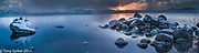 Bonsai Rock Sunset 4 - A panoramic photograph of a winter sunset over Lake Tahoe at Bonsai Rock
