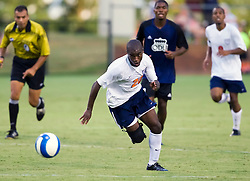Virginia Cavaliers forward Chris Agorsor (20) reacts on a fast break against ODU.  The Virginia Cavaliers defeated the Old Dominion Monarchs 3-0 in a pre-season NCAA Men's Soccer exhibition game held at Klockner Stadium on the Grounds of the University of Virginia in Charlottesville, VA on August 23, 2008.
