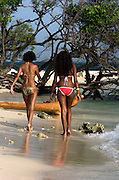 Girls on Lime Cay Beach