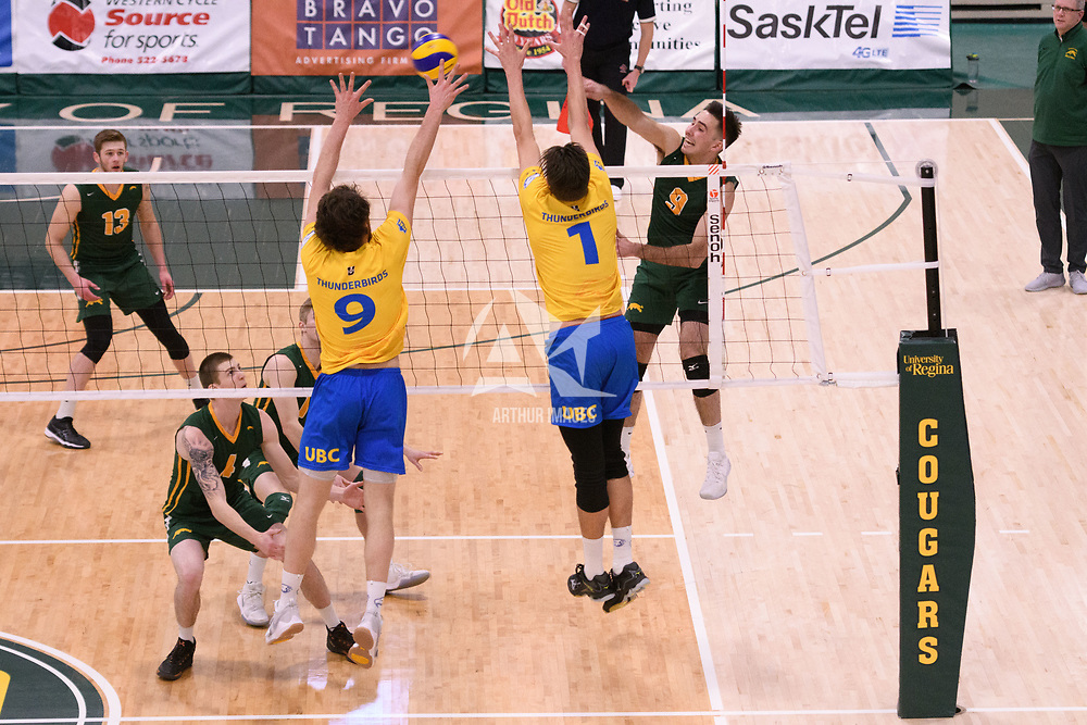 4th year outside hitter Dalton Wolfe (9) of the Regina Cougars in action during Men's Volleyball home game on February 2 at Centre for Kinesiology, Health and Sport. Credit: Arthur Ward/Arthur Images