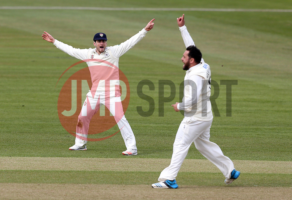 Kieran Noema-Barnett of Gloucestershire and Benny Howell of Gloucestershire appeal for an LBW - Mandatory by-line: Robbie Stephenson/JMP - 01/04/2016 - CRICKET - Bristol County Ground - Bristol, United Kingdom - Gloucestershire v Durham MCC University - MCC University Match