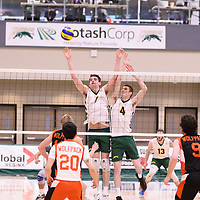 2nd year Right-Side hitter Matthew Aubrey (7) of the Regina Cougars in action during Men's Volleyball home game on January 13 at Centre for Kinesiology, Health and Sport. Credit: /Arthur Images 2018