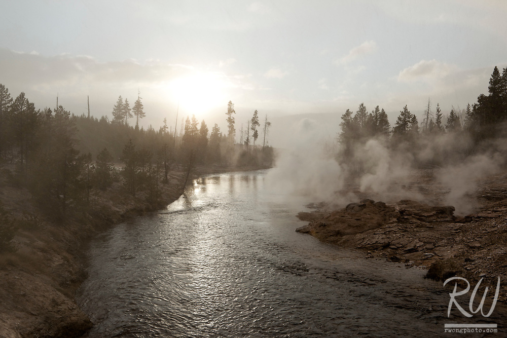 Snowing at Sunset Along Firehole River (Upper Geyser Basin), Yellowstone National Park, Wyoming