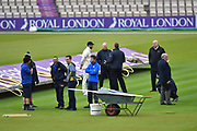 James Vince of Hampshire in the middle with the ground staff before the first day of the Specsavers County Champ Div 1 match between Hampshire County Cricket Club and Essex County Cricket Club at the Ageas Bowl, Southampton, United Kingdom on 5 April 2019.