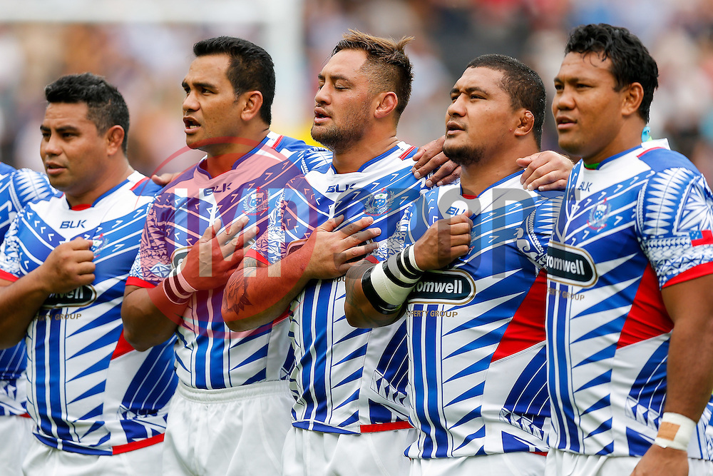 Samoa Flanker Jack Lam (3L) lines up with his teammates during the anthems - Mandatory byline: Rogan Thomson/JMP - 07966 386802 - 29/08/2015 - RUGBY UNION - The Stadium at Queen Elizabeth Olympic Park - London, England - Barbarians v Samoa - International Friendly.