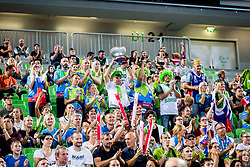 Slovenian fans during basketball match between National teams of Slovenia and Turkey in Round #8 of FIBA Basketball World Cup 2019 European Qualifiers, on September 17, 2018 in Arena Stozice, Ljubljana, Slovenia. Photo by Ziga Zupan / Sportida