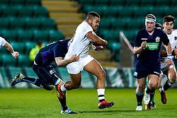 Ollie Lawrence of England U20 is tackled - Mandatory by-line: Robbie Stephenson/JMP - 15/03/2019 - RUGBY - Franklin's Gardens - Northampton, England - England U20 v Scotland U20 - Six Nations U20