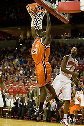Virginia guard/forward Mamadi Diane (24) dunks against Maryland.  The Maryland Terrapins defeated the Virginia Cavaliers men's basketball team 85-75 at the Comcast Arena in College Park, MD on January 30, 2008.