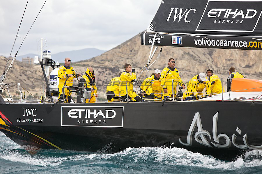 VOLVO OCEAN RACE 2011-2012.ALICANTE ,Spain,race start, Zinedine Zidane one of the greatest football players of all time together with Ian Walker, skipper of the Abu Dhabi Ocean Racing Team after the start of the firs leg of the Volvo Ocean Race 2011 -2012