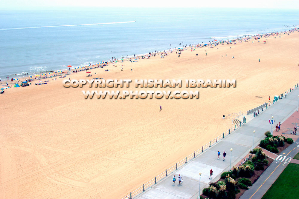 Aerial view of Virginia Beach, Sea and Boardwalk, Virginia Beach, Virginia, USA.