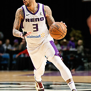 Reno Bighorns Guard MARCUS WILLIAMS (3) during the Western Conference Semi-Final NBA G-League Basketball game between the Reno Bighorns and the South Bay Lakers at the Reno Events Center in Reno, Nevada.