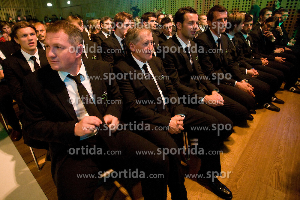Matjaz Kek, Milan Miklavic, Samir Handanovic, Jasmin Handanovic at official presentation of Slovenian National Football team for World Cup 2010 South Africa, on May 21, 2010 in Congress Center Brdo at Kranj, Slovenia. (Photo by Vid Ponikvar / Sportida)