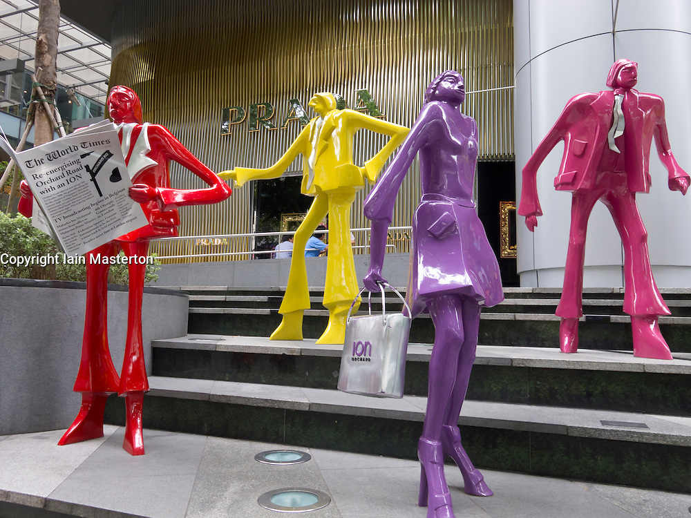 Colourful modern art sculptures outside shopping mall in Orchard Road in Singapore