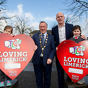 25.01.2018.         <br /> The hugely successful Team Limerick Clean-up (TLC) is set to take place for the fourth consecutive year this Good Friday 30th March 2018. <br /> <br /> Pictured at  The Red Door Gallery, Newcastle West to launch the Team Limerick Clean-up4 and &lsquo;Loving Limerick&rsquo; competition were pupils, Ella Byrne, 5 and Amy Lane, 5, from Scoil Iosaf Girls' NS with Mayor of Limerick City and County, Cllr. Stephen Geary and Paul O'Connell.<br /> <br /> Registration is now open on www.teamlimerickcleanup.ie. To celebrate TLC4, Primary Schools from across Limerick have been invited to take part in an exciting Valentines competition. Paul O&rsquo;Connell was joined today by the Mayor of Limerick, Stephen Keary and pupils from Scoil Iosaf Girls' NS at The Red Door Gallery, Newcastle West to launch the Team Limerick Clean-up4 and &lsquo;Loving Limerick&rsquo; competition. Picture: Alan Place