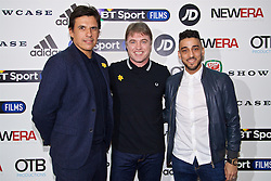 NANTGARW, WALES - Wednesday, March 1, 2017: Wales manager Chris Coleman [L] and Aston Villa player Neil Taylor [R] with Director Jonny Owen attend the premier of Don't Take Me Home - the incredible true story of Wales' Euro 2016 at Showcase Cinema Nantgarw on St. David's Day. (Pic by David Rawcliffe/Propaganda)