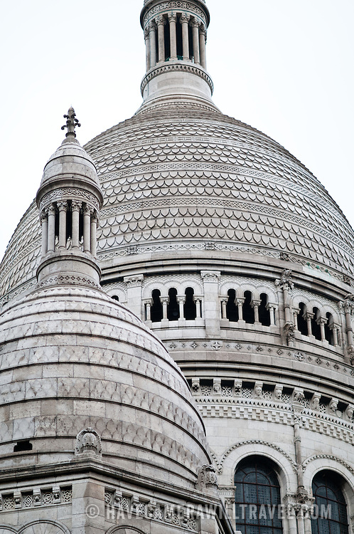 Detail of the domes of Sacre Coeur Cathedral, one of the iconic landmarks of Paris