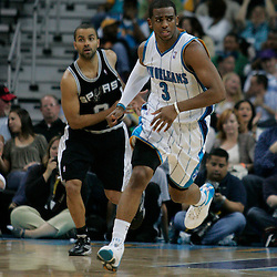 29 March 2009: New Orleans Hornets guard Chris Paul (3) runs back on defense during a 90-86 victory by the New Orleans Hornets over Southwestern Division rivals the San Antonio Spurs at the New Orleans Arena in New Orleans, Louisiana.