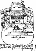 Interior of the Swan Theatre, Bankside, London, 1596, showing a performance in progress. from a drawing by the Dutchman Johannes de Witt.