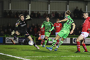 Forest Green Rovers Joseph Mills(23) shoots at goal scores a goal 1-2 during the EFL Sky Bet League 2 match between Forest Green Rovers and Swindon Town at the New Lawn, Forest Green, United Kingdom on 21 December 2019.