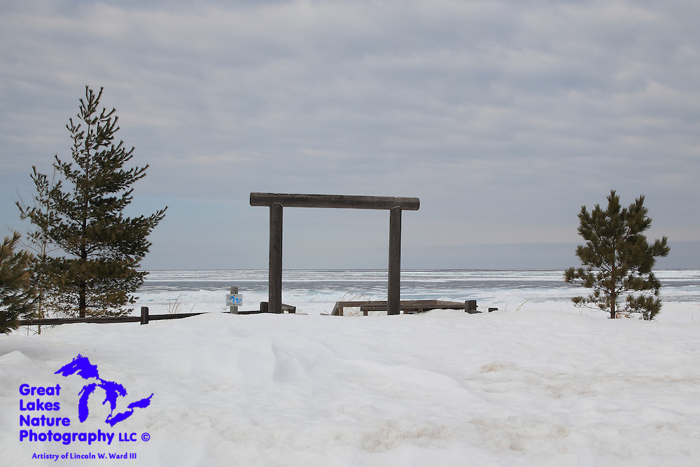 This is the entry arch to the swimming beach on Lake Superior in Marquette County along M-28. Even though I captured this image on March 13, Lake Superior is frozen as far as the eye can see in this record-setting, brutally cold winter.