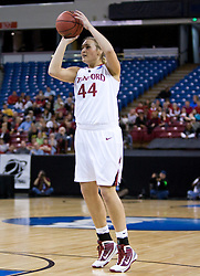 March 29, 2010; Sacramento, CA, USA; Stanford Cardinal forward Joslyn Tinkle (44) shoots against the Xavier Musketeers during the first half in the finals of the Sacramental regional in the 2010 NCAA womens basketball tournament at ARCO Arena.  Stanford defeated Xavier 55-53.