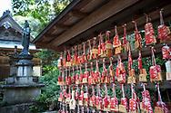 Tempelbes&ouml;kare skriver ner sina b&ouml;ner p&aring; sm&aring; tr&auml;block och h&auml;nger dem p&aring; en best&auml;md plats. <br /> Tempel nummer 1, Ryōzen-ji (霊山寺)<br /> <br /> Pilgrimsvandring till 88 tempel p&aring; japanska &ouml;n Shikoku till minne av den japanske munken Kūkai (Kōbō Daishi). <br /> <br /> Fotograf: Christina Sj&ouml;gren<br /> Copyright 2018, All Rights Reserved<br /> <br /> <br /> Prayers written on small wooden blocks at the first temple Ryōzen-ji (霊山寺) of the Shikoku Pilgrimage, 88 temples associated with the Buddhist monk Kūkai (Kōbō Daishi) on the island of Shikoku, Naruto,Tokushima Prefecture, Japan