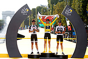 Podium, Geraint Thomas (GBR - Team Sky) Yellow Jersey, winner, Tom Dumoulin (NED - Team Sunweb), 2nd, Christopher Froome (GBR - Team Sky) 3rd during the 105th Tour de France 2018, Stage 21, Houilles - Paris Champs-Elysees (115 km) on July 29th, 2018 - Photo Luca Bettini / BettiniPhoto / ProSportsImages / DPPI