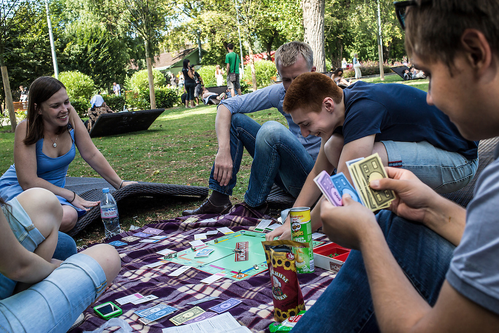 People play Monopoly in Gorky Park on Saturday, August 17, 2013 in Moscow, Russia.