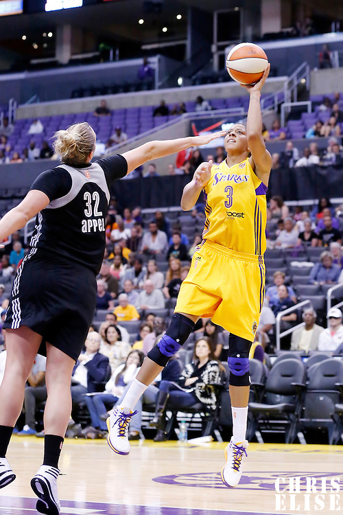 25 May 2014: Los Angeles Sparks forward/center Candace Parker (3) takes a jumpshot over San Antonio Stars center Jayne Appel (32) during the Los Angeles Sparks 83-62 victory over the San Antonio Stars, at the Staples Center, Los Angeles, California, USA.