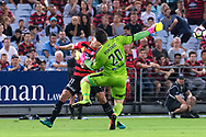 February 18, 2017:  Sydney FC goalkeeper Danny VUKOVIC (20) and Western Sydney Wanderers forward Brendon SANTALAB (11) collide while going for the ball at Round 20 of the 2016 Hyundai A-League match, between Western Sydney Wanderers and Sydney FC, played at ANZ Stadium in Sydney.