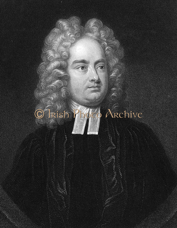 Jonathan Swift (1667-1746)  Anglo-Irish clergyman, satirist and poet.  Author of  'Gulliver's Travels' 1726 'Battle of the Books' and 'A Tale of the Tub' 1704. Engraving