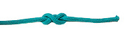 Double Overhand Stopper Knot similar to the Figure Eight Knot on white background used as a stopper at the end of a rope