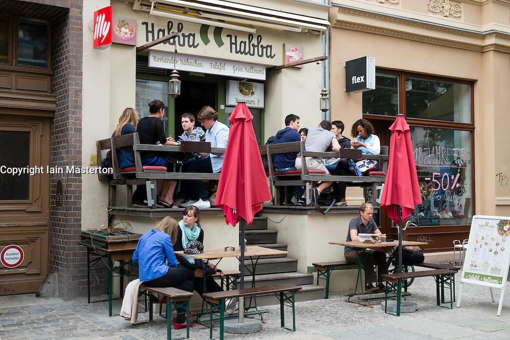 Restaurant on Kastanienallee in bohemian Prenzlauer Berg district of Berlin Germany
